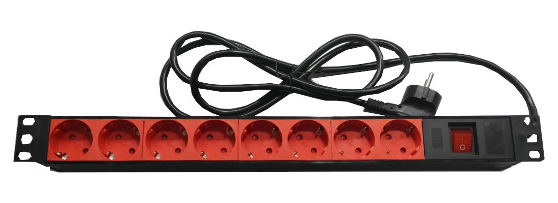 """Regleta 19"""" 1U 8 schukos rojos con interruptor PVC negro"""
