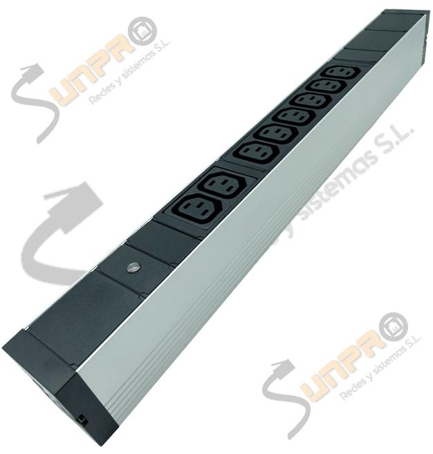 "Regleta 19"" 1U 8 C13 + 1 C14 con piloto LED en aluminio"