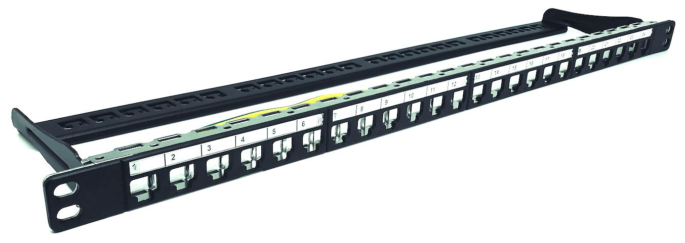 """Panel 24 puertos 19"""" 1/2U vacio negro IDEAL"""